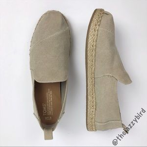 Toms Khaki Tan Canvas Espadrille Loafers